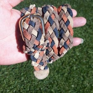 Leather Woven Belt Navy Rust Cream Tan Southwest